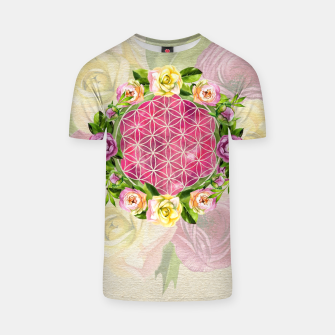 Thumbnail image of Flower of life in watercolor flower wreath T-shirt, Live Heroes