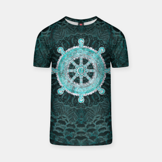 Thumbnail image of Dharma Wheel - Dharmachakra Silver and turquoise T-shirt, Live Heroes