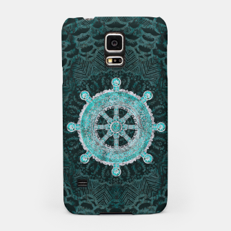 Thumbnail image of Dharma Wheel - Dharmachakra Silver and turquoise Samsung Case, Live Heroes
