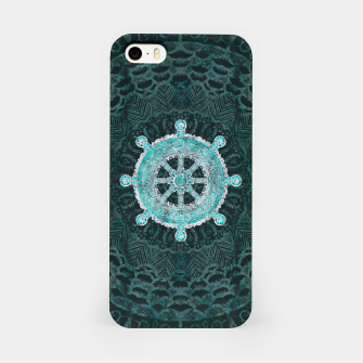 Thumbnail image of Dharma Wheel - Dharmachakra Silver and turquoise iPhone Case, Live Heroes