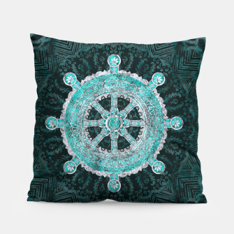 Thumbnail image of Dharma Wheel - Dharmachakra Silver and turquoise Pillow, Live Heroes