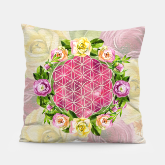 Thumbnail image of Flower of life in watercolor flower wreath Pillow, Live Heroes