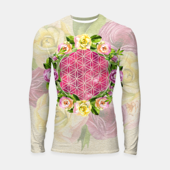 Thumbnail image of Flower of life in watercolor flower wreath Longsleeve rashguard , Live Heroes