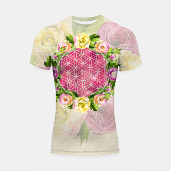Thumbnail image of Flower of life in watercolor flower wreath Shortsleeve rashguard, Live Heroes