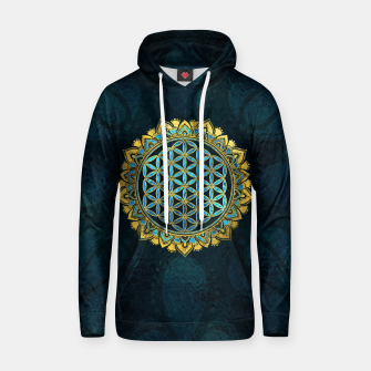 Thumbnail image of Flower of life gold an blue texture  glass Cotton hoodie, Live Heroes
