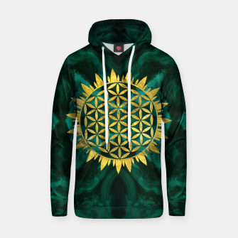 Thumbnail image of Gold Flower of life on malachite  Cotton hoodie, Live Heroes