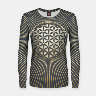 Thumbnail image of Flower of life metallic embossed Woman cotton sweater, Live Heroes