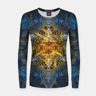 Decorative Gemstone Sacred Geometry Flower of life   Woman cotton sweater thumbnail image