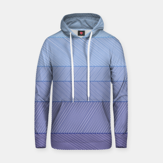Thumbnail image of Thin stripes Asymmetric Blue and White  Cotton hoodie, Live Heroes