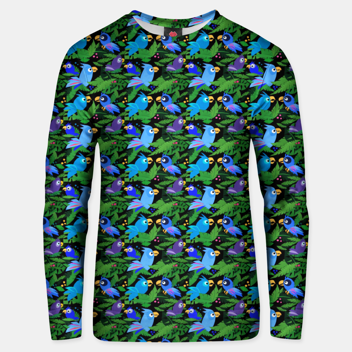 Image of Blue Jungle Birds – Cotton sweater - Live Heroes