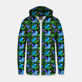 Blue Jungle Birds – Cotton zip up hoodie thumbnail image