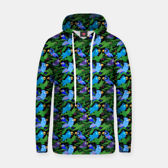 Blue Jungle Birds – Cotton hoodie thumbnail image
