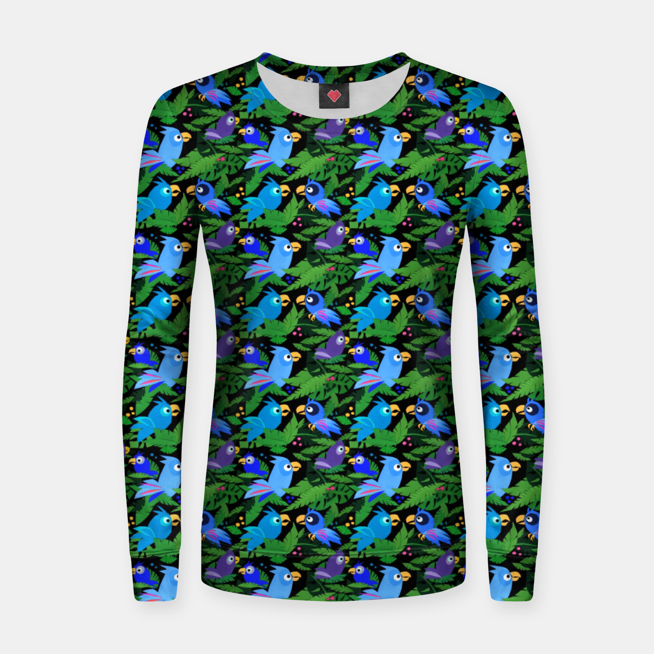 Image of Blue Jungle Birds – Woman cotton sweater - Live Heroes