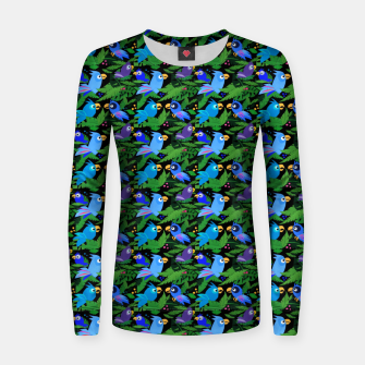 Thumbnail image of Blue Jungle Birds – Woman cotton sweater, Live Heroes