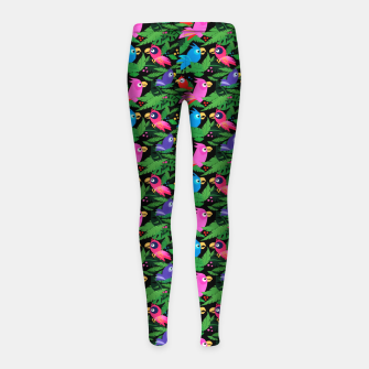 Miniatur Pink Jungle Birds – Girl's leggings, Live Heroes