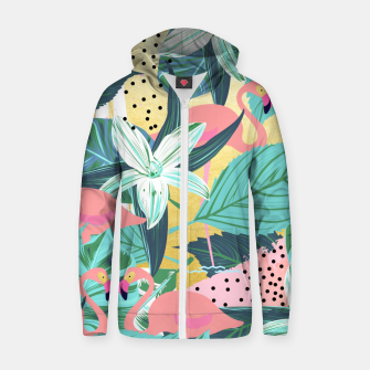 Miniature de image de Flamingo Tropical Cotton zip up hoodie, Live Heroes