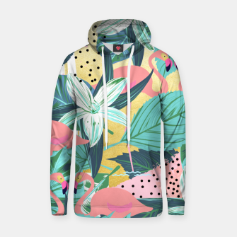 Thumbnail image of Flamingo Tropical Cotton hoodie, Live Heroes