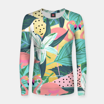 Flamingo Tropical Woman cotton sweater Bild der Miniatur