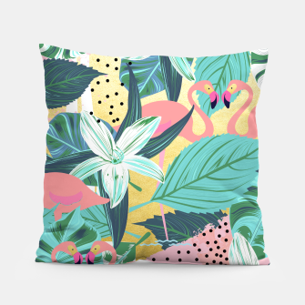 Flamingo Tropical Pillow Bild der Miniatur