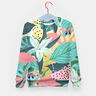 Flamingo Tropical Kid's sweater Bild der Miniatur