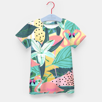 Flamingo Tropical Kid's t-shirt Bild der Miniatur