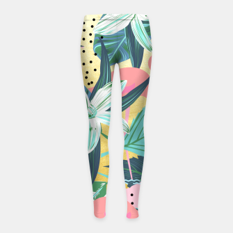 Flamingo Tropical Girl's leggings Bild der Miniatur