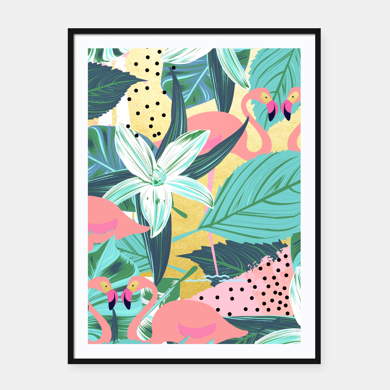 Foto Flamingo Tropical Framed poster - Live Heroes