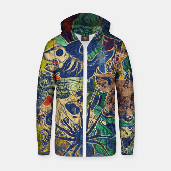 Thumbnail image of Second Color Stickers Cotton zip up hoodie, Live Heroes