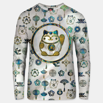 Thumbnail image of Maneki Neko Lucky cat on  pearl and abalone Cotton sweater, Live Heroes