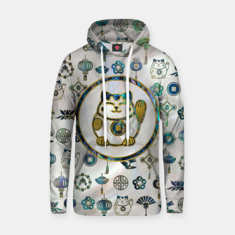 Thumbnail image of Maneki Neko Lucky cat on  pearl and abalone Cotton hoodie, Live Heroes