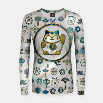 Thumbnail image of Maneki Neko Lucky cat on  pearl and abalone Woman cotton sweater, Live Heroes