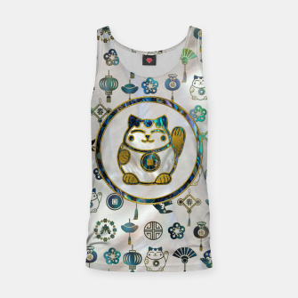 Thumbnail image of Maneki Neko Lucky cat on  pearl and abalone Tank Top, Live Heroes