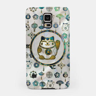 Thumbnail image of Maneki Neko Lucky cat on  pearl and abalone Samsung Case, Live Heroes