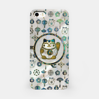 Thumbnail image of Maneki Neko Lucky cat on  pearl and abalone iPhone Case, Live Heroes
