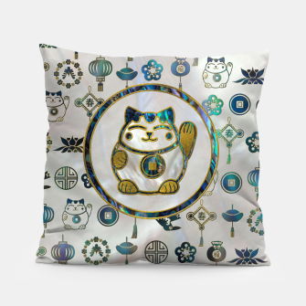 Thumbnail image of Maneki Neko Lucky cat on  pearl and abalone Pillow, Live Heroes