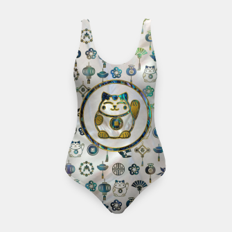 Thumbnail image of Maneki Neko Lucky cat on  pearl and abalone Swimsuit, Live Heroes