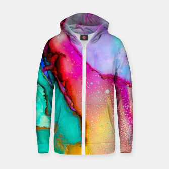 Thumbnail image of Oil Slick Cotton zip up hoodie, Live Heroes