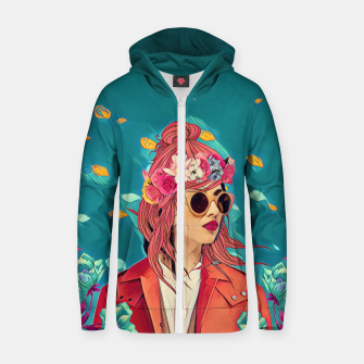 Thumbnail image of Blossom winds Cotton zip up hoodie, Live Heroes