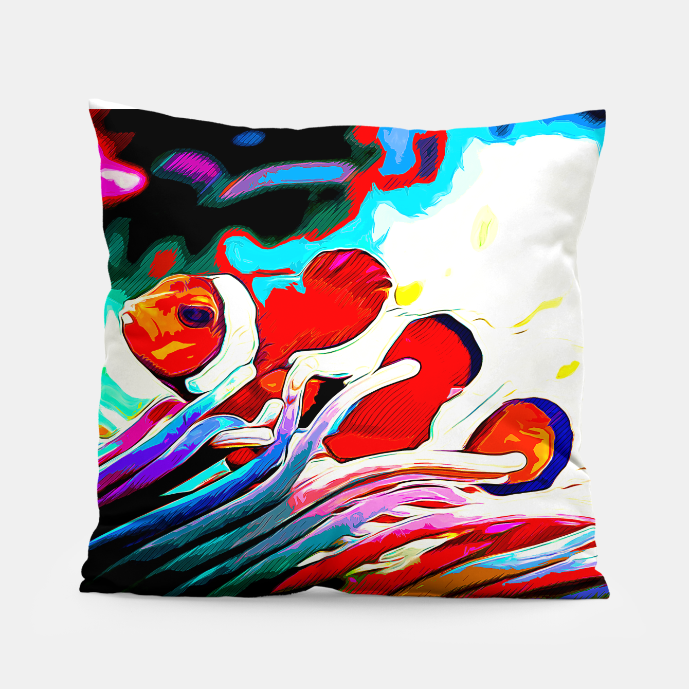 gxp colorful anemonefish clownfish vector art Pillow, Live Heroes