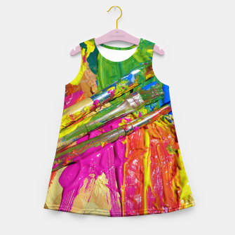 Thumbnail image of Paint Brush Colourful Art Design Girl's summer dress, Live Heroes