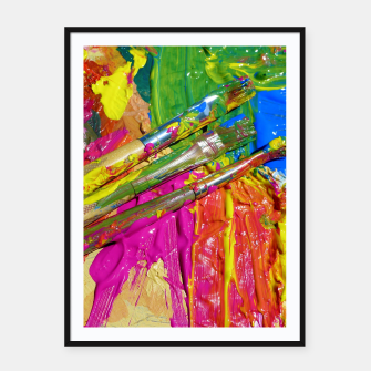 Thumbnail image of Paint Brush Colourful Art Design Framed poster, Live Heroes