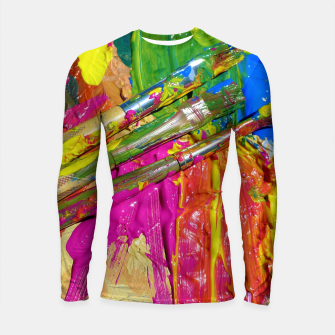 Thumbnail image of Paint Brush Colourful Art Design Longsleeve rashguard , Live Heroes