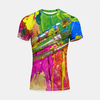 Thumbnail image of Paint Brush Colourful Art Design Shortsleeve rashguard, Live Heroes