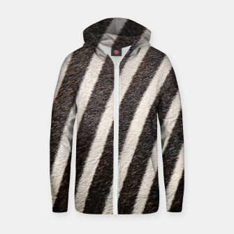 Thumbnail image of Zebra Stripe Fur Design Cotton zip up hoodie, Live Heroes