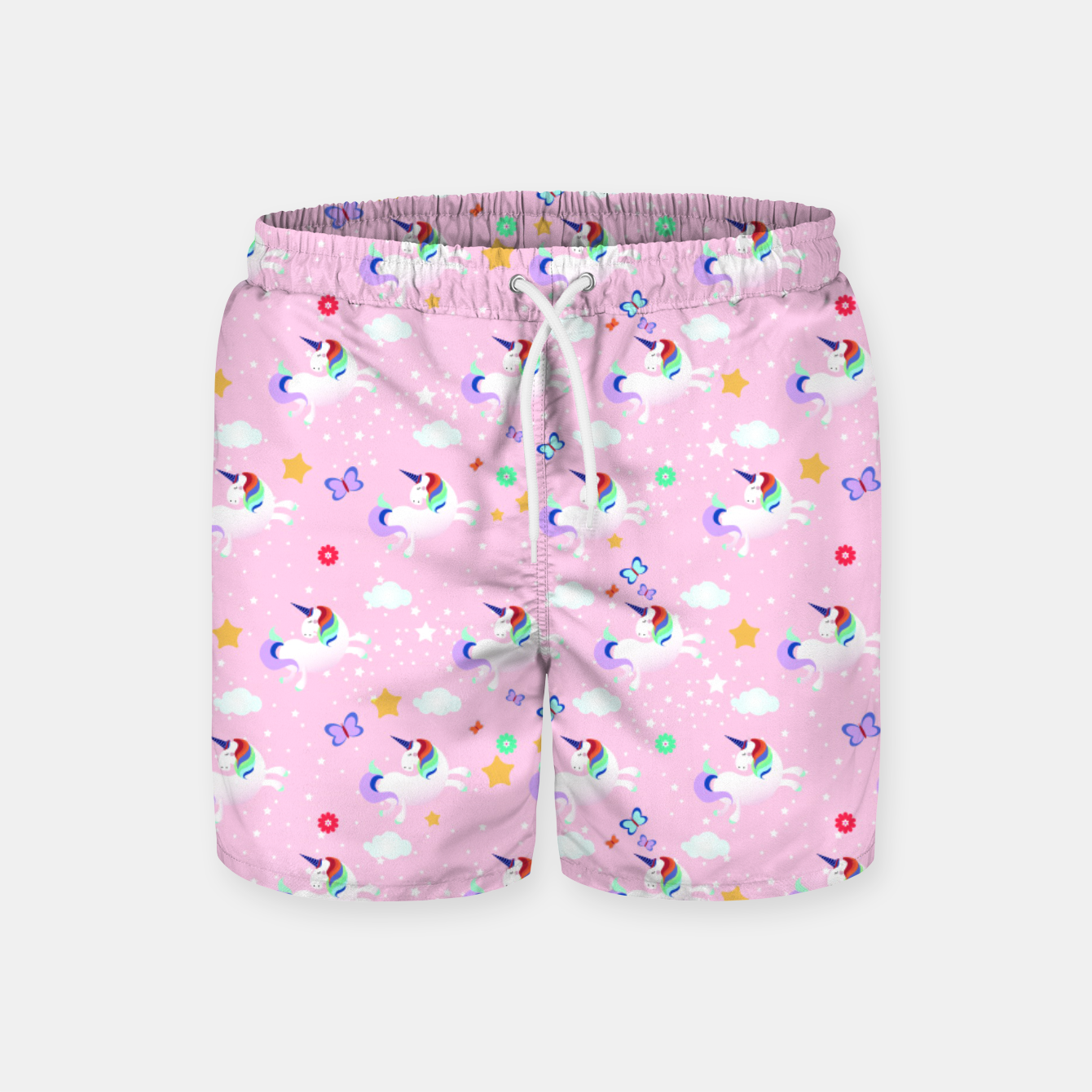 f6d8a72b37120 Pink Unicorn Pattern Follow the Rainbow Swim Shorts, Live Heroes