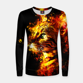 Miniatur gxp bengal cat yearns for freedom splatter watercolor Woman cotton sweater, Live Heroes