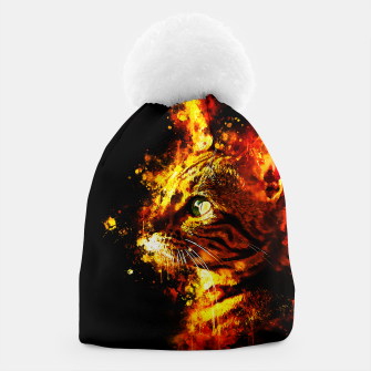 Miniatur gxp bengal cat yearns for freedom splatter watercolor Beanie, Live Heroes