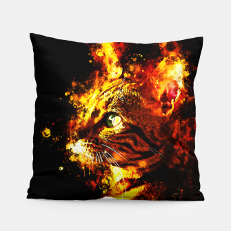 Miniatur gxp bengal cat yearns for freedom splatter watercolor Pillow, Live Heroes