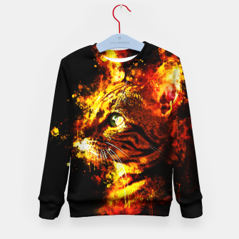 Miniatur gxp bengal cat yearns for freedom splatter watercolor Kid's sweater, Live Heroes
