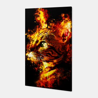 Miniatur gxp bengal cat yearns for freedom splatter watercolor Canvas, Live Heroes